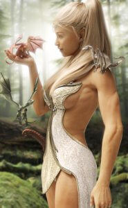 A woman in a white fantasy outfit holds her dragons.